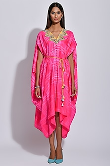 Raspberry Pink & White Printed Cape by Swati Vijaivargie