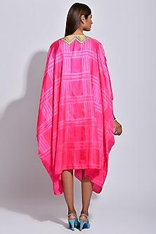 Raspberry Pink & White Printed Cape by Swati Vijaivargie