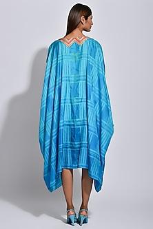 Turquoise Braided Printed Cape by Swati Vijaivargie
