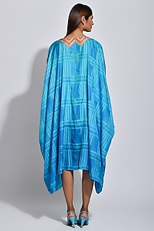 Turquoise Braided Printed Cape by Swati Vijaivargie
