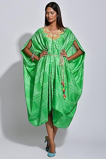 Green Braided Printed Cape by Swati Vijaivargie