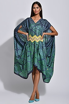 Charcoal Grey & Green Braided Printed Cape by Swati Vijaivargie