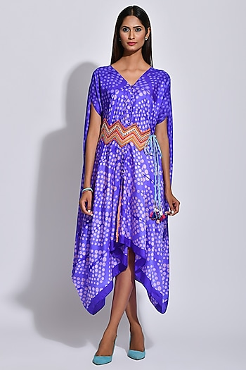 Purple Braided Printed Cape by Swati Vijaivargie
