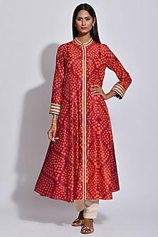 Maroon Braided Printed Kurta by Swati Vijaivargie