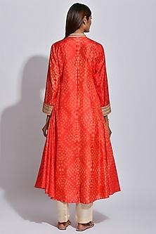 Scarlet Red Braided Printed Kurta by Swati Vijaivargie