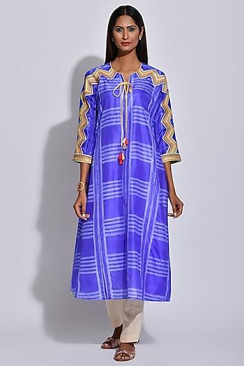 Purple Braided & Shibori Printed Kurta by Swati Vijaivargie