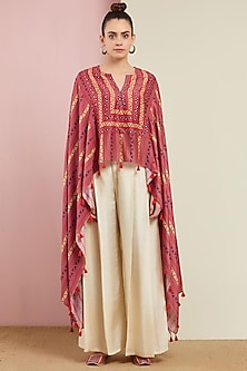 Blush Pink Cape With Pants by Swati Vijaivargie