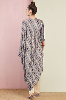 Grey Striped Tunic With Pants by Swati Vijaivargie