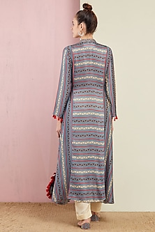 Grey Striped Flared Kurta With Pants by Swati Vijaivargie