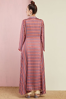 Blush Pink Striped Kurta With Pants by Swati Vijaivargie