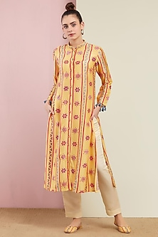 Yellow Front Open Kurta With Pants by Swati Vijaivargie