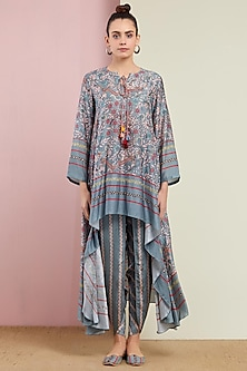 Grey Embroidered Tunic With Pants by Swati Vijaivargie