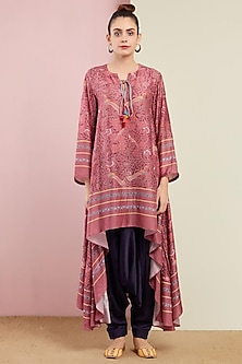 Blush Pink Asymmetrical Tunic With Pants by Swati Vijaivargie