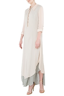Beige Asymmetrical Kurta with Teal Printed Inner by Arya by SVA