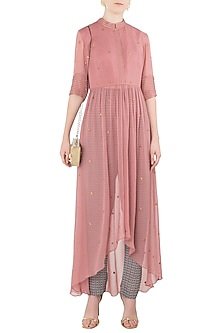 Rose Pink High-Low Anarkali with Printed Cigarette Pants by Arya by SVA