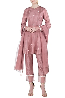 Rose Pink Embroidered Short Anarkali with Cigarette Pants Set by Arya by SVA