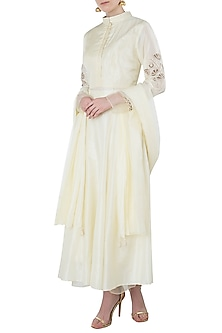 Yellow Embroidered Anarkali with Palazzo Pants Set by Arya by SVA
