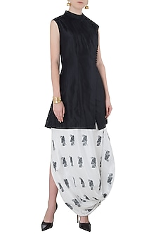 Black Overlap Jacket with White Printed Drape Skirt by Arya by SVA