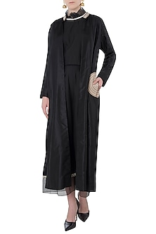 Black Embroidered Jacket with Crop Top and Palazzo Pants by Arya by SVA