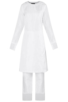 White Embroidered Short Anarkali with Cigarette Pants Set by Arya by SVA