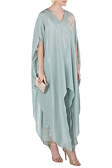 Teal Blue Embroidered Kaftan with Cigarette Pants by Arya by SVA