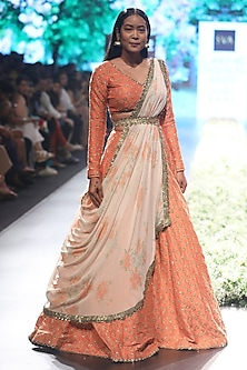 Sunset Orange Embroidered Draped Lehenga Set by SVA BY SONAM & PARAS MODI