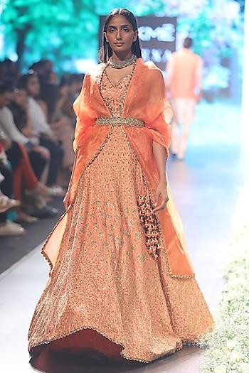 Sunset Orange Embroidered Lehenga Set by SVA BY SONAM & PARAS MODI