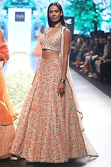 Beige and Orange Embroiderd Cape and Lehenga Set by SVA BY SONAM & PARAS MODI