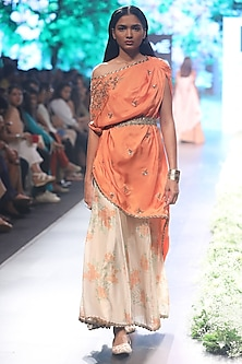 Orange One Shoulder Embroidered Kaftan with Matching Sharara Pants and Embroidered Belt by SVA BY SONAM & PARAS MODI