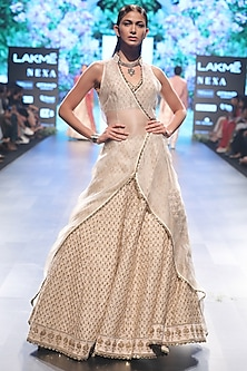 Beige Embroidered Lehenga Set with Jacket by SVA BY SONAM & PARAS MODI