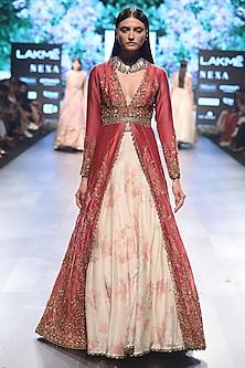 Pink Cutwork Anarkali Jacket with Beige Printed Lehenga by SVA BY SONAM & PARAS MODI