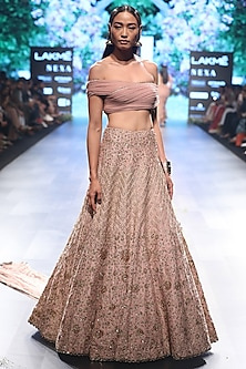 Rose Pink Embroidered Off Shoulder Blouse and Lehenga Skirt Set by SVA BY SONAM & PARAS MODI