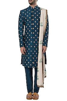Midnight Blue Embroidered Sherwani Set by SVA BY SONAM & PARAS MODI