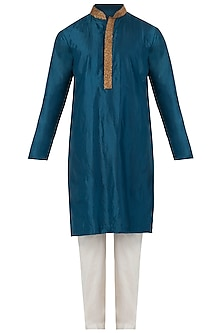 Midnight Blue Embroidered Kurta Set by SVA BY SONAM & PARAS MODI