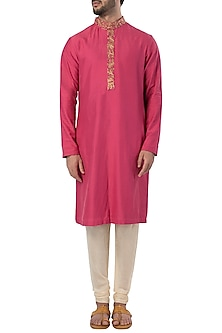 Pink and Off White Embroidered Kurta with Pants by SVA BY SONAM & PARAS MODI