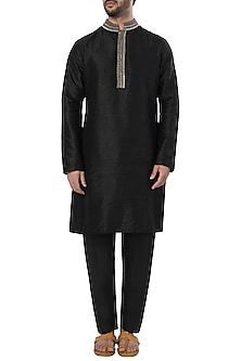 Black Embroidered Kurta with Pants by SVA BY SONAM & PARAS MODI