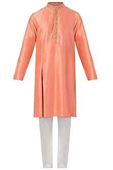 Orange Box Pleated Embroidered Kurta with Pants by SVA BY SONAM & PARAS MODI