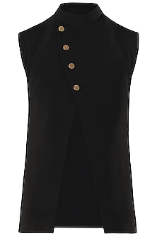 Black Cross Over Nehru Jacket by SVA BY SONAM & PARAS MODI