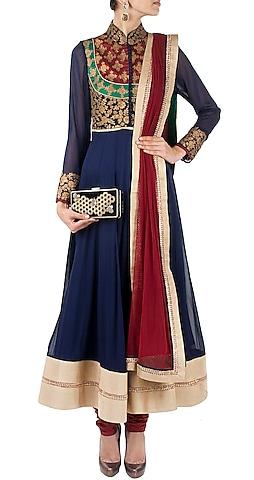 Blue maharani neckline anarkali by SVA BY SONAM & PARAS MODI