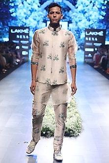 Beige and Blue Embroidered Dahlia Print Bundi Jacket by SVA BY SONAM & PARAS MODI