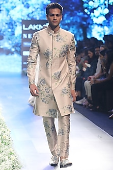 Beige and Blue Dahlia Print Sherwani with Pleated Pants by SVA BY SONAM & PARAS MODI
