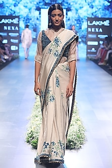 Beige and Blue Embroidered Dahlia Print Saree with Bustier and Shirt by SVA BY SONAM & PARAS MODI
