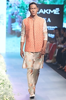 Beige and Orange Dahlia Print Kurta with Pleated Pants by SVA BY SONAM & PARAS MODI