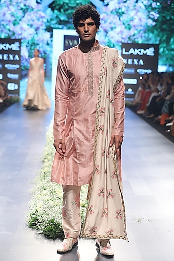 Rose Pink Embroidered Kurta with Dahlia Print Pleated Pants and Dupatta by SVA BY SONAM & PARAS MODI