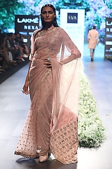 Rose Pink Embroidered Saree with Dahlia Print Blouse, Peticoat and Shirt by SVA BY SONAM & PARAS MODI
