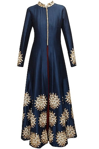 Blue floral embroidered motif kurta with maroon strappy inner by SVA BY SONAM & PARAS MODI