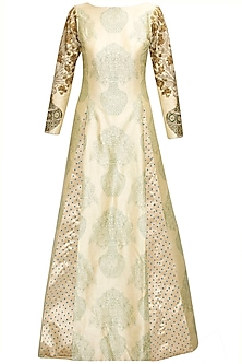 Beige printed floral embroidered kurta by SVA BY SONAM & PARAS MODI