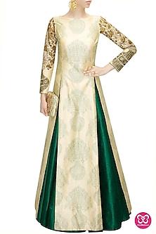 Emerald green pleated lehenga by SVA BY SONAM & PARAS MODI