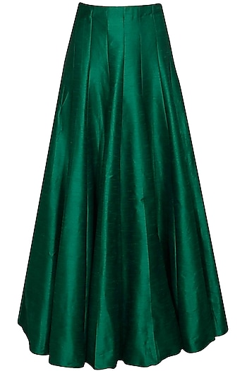 Emerald green pleated lehenga by SVA BY SONAM & PARAS MODI