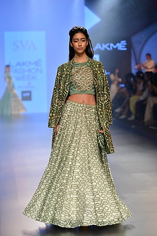 Olive intricate embroiderd front open jacket by SVA BY SONAM & PARAS MODI